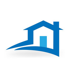 blue house and road simple icon vector image