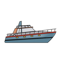 Boat tourist yacht to travel by sea transport vector