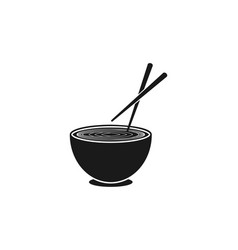 bowl noodles chopsticks japanese restaurant logo vector image