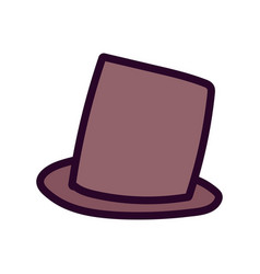 brown top hat accessory fashion icon vector image