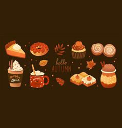 bundle of pumpkin spice flavored sweet food vector image