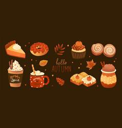 bundle pumpkin spice flavored sweet food vector image