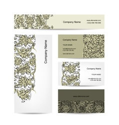 Business cards design floral ornament vector