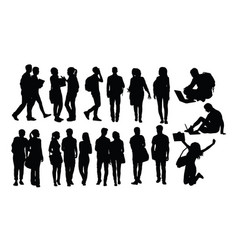 Campus activity silhouettes vector