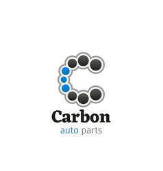 carbon auto parts service letter c icon vector image