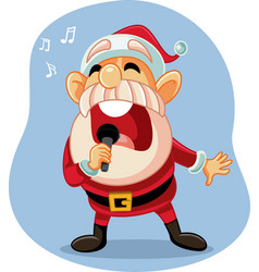 cheerful santa claus singing christmas carols vector image