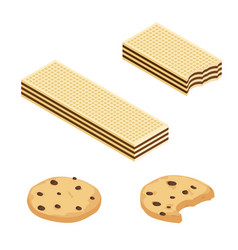 chocolate or cocoa cookies and crispy wafers vector image