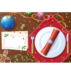 Christmas dinner table vector image