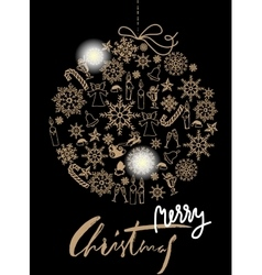 Christmas gold ball made of snowflakes and vector image