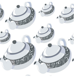 classic teapot with lid handle and ornamental vector image
