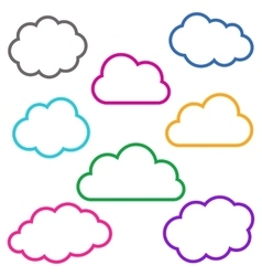 Colorful cloud outlines collection vector