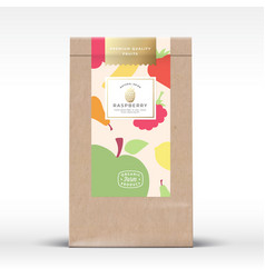 craft paper bag with dried fruits label abstract vector image