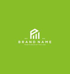 Creative letter p financial chart logo design vector