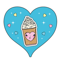 cute ice cream in heart kawaii character vector image
