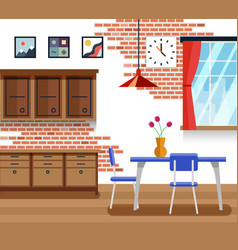 Dining room with furniture in flat style vector