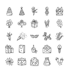 Doodle icons set of celebration and party vector