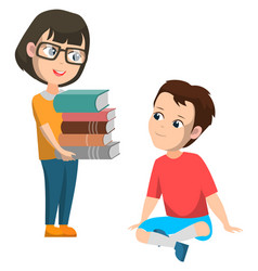 Elementary school students with books boy and girl vector