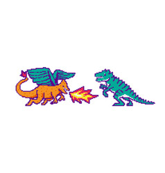 fire dragon and dinosaur fight or battle vector image