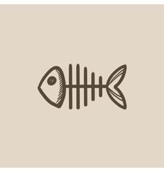 Fish skeleton sketch icon vector image