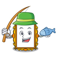 fishing picture frame mascot cartoon vector image