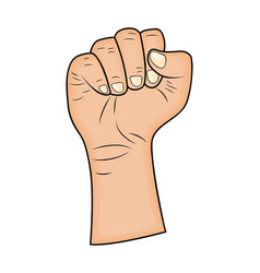 fist hand gesture - realistic cartoon picture vector image