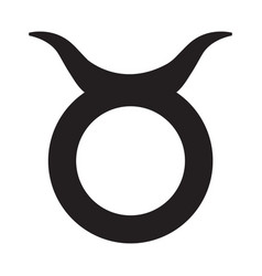 Flat black taurus sign icon vector