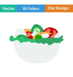 Flat design icon of Salad in plate vector image vector image