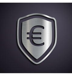 Flat metallic logo euro vector image