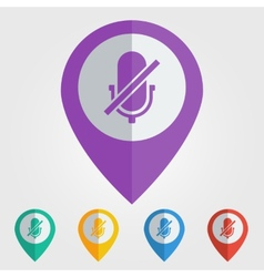 flat pin with microphone off icon vector image