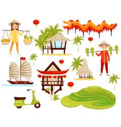 Flat set of cultural symbols of vietnam vector
