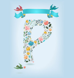 Floral letter p with blue ribbon and three doves vector