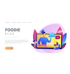 Food blogging concept landing page vector