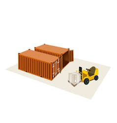 Forklift truck loading a shipping box vector