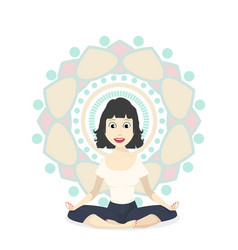 girl in yoga lotus pose vector image