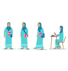girl moslem college student flat character set vector image
