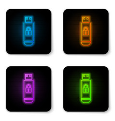 glowing neon usb flash drive with closed padlock vector image