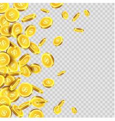 Gold coins rain or golden money coin pattern vector