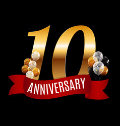 Golden 10 years anniversary template with red vector