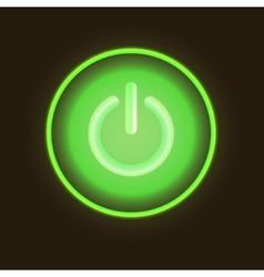 Green neon button vector image