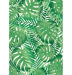 Green tropical palm tree leaves background vector