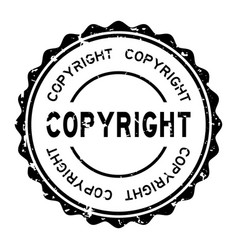 Grunge black copyright word round rubber seal vector