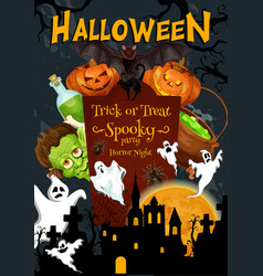 halloween party holiday night poster vector image