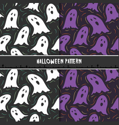 halloween seamless pattern with cute cartoon vector image