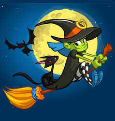 Halloween with cute witch flying on her broom on vector