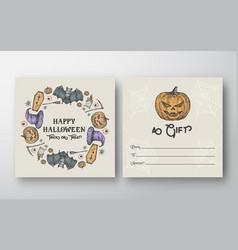 halloween wreath abstract greeting gift vector image