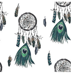 hand drawn ethnic dreamcatcher seamless pattern vector image
