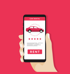 Hand holding smartphone with rent a car button vector