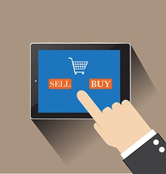 Hand of businessman touching SELL AND buy on vector