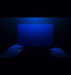 hands using laptop technology hi-tech futuristic vector image