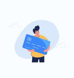 Happy smiling man hugging big credit card vector